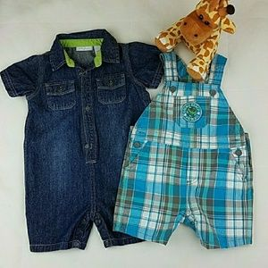 Bundle of Overall shorts Plaid and Jeans